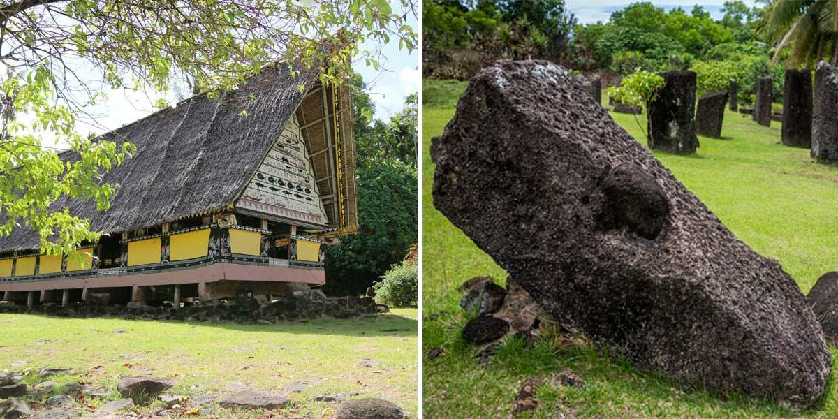 Palau bais and stone faces