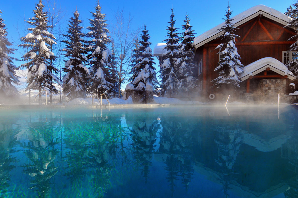 steaming swimming pool in winter at shore lodge in mccall idaho