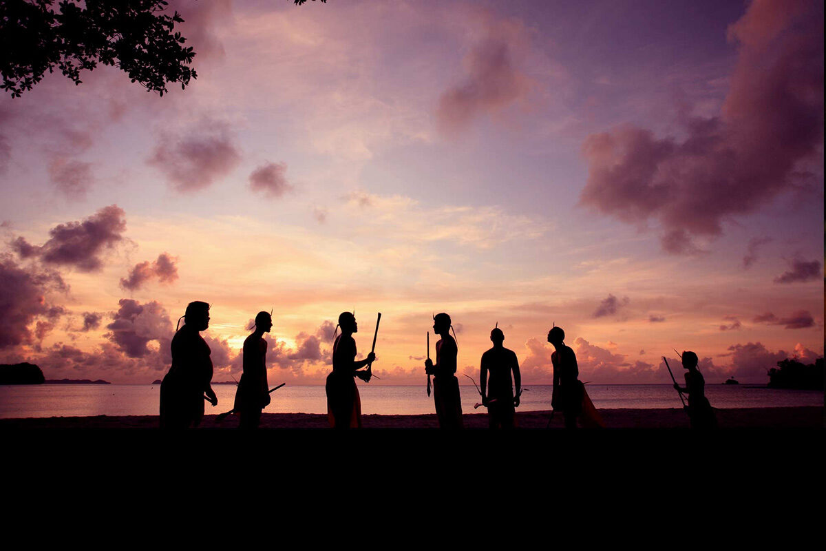 Palau dancers at sunset