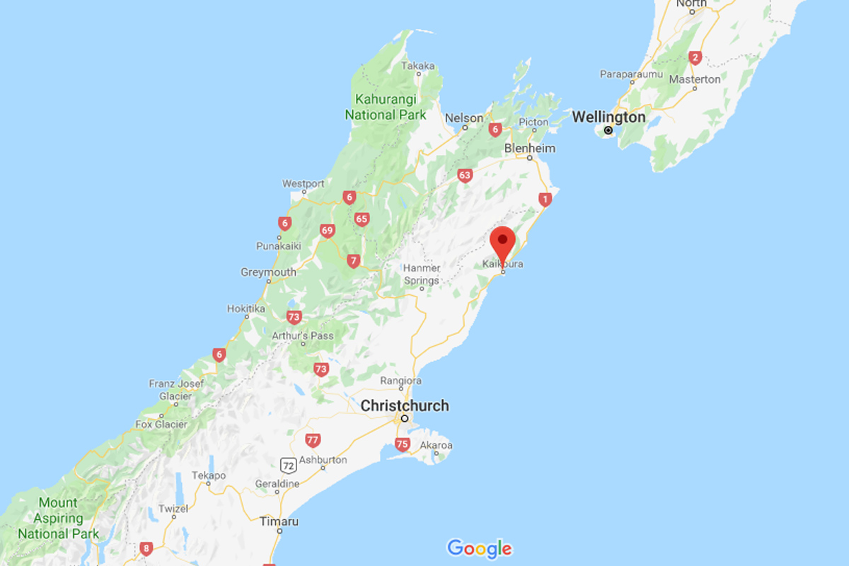map of Kaikoura, New Zealand