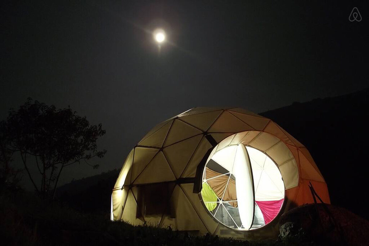 space travel, geodesic dome, stargazing
