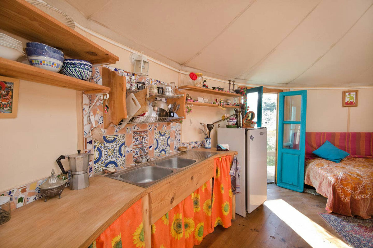 yurt in spain kitchen